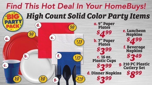 High count solid color party items
